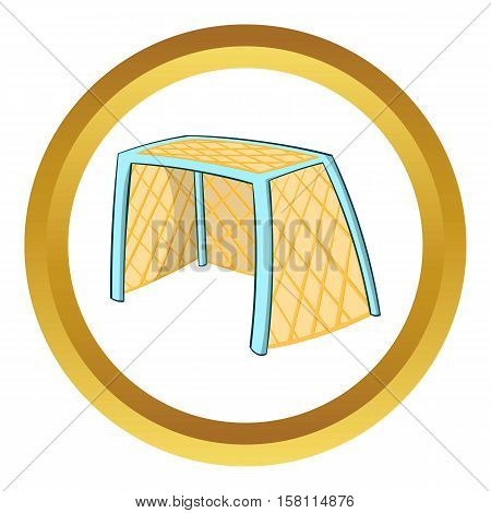 Hockey gates vector icon in golden circle, cartoon style isolated on white background