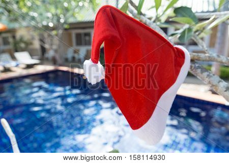Christmas Santa hat on border of a swimming pool - holiday tropical concept