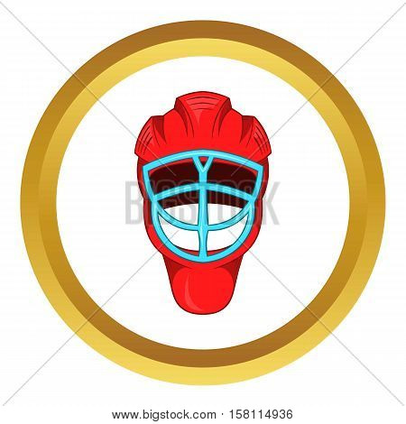 Red hockey helmet with cage vector icon in golden circle, cartoon style isolated on white background