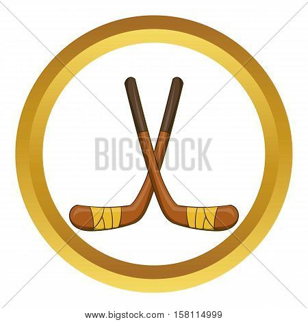 Hockey sticks vector icon in golden circle, cartoon style isolated on white background