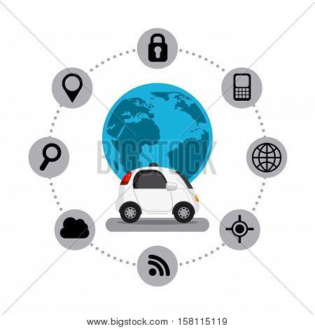 autonomous car vehicle and earth planet with navigation icons around over white background. ecology,  smart and techonology concept. vector illustration