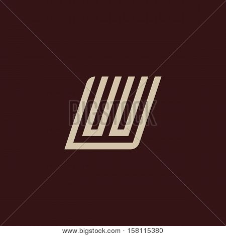 Isolated geometric vector white color alphabet letter w. Monogram symbol on the dark background. Unusual typography element. Vector illustration