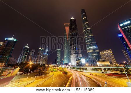 Night View Of Century Avenue And Skyscrapers In Shanghai, China