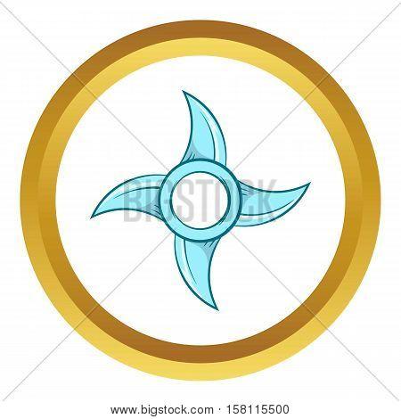 Ninja Shuriken star weapon vector icon in golden circle, cartoon style isolated on white background