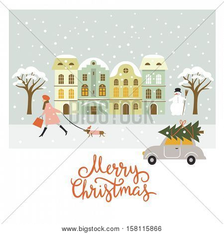 Greeting card, Christmas and New Year's illustration, Merry Christmas lettering