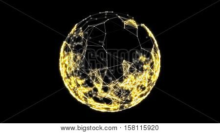 Abstract sphere from connected plexus golden dots and lines. Science and technology background illustration. Depth of field settings. 3D rendering.