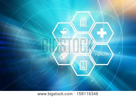 Medical Abstract Background; Suitable for Healthcare and Medical News Topic Medical White Symbols on Hexadecimal Shapes in Front of World Map Background. Health Business and Trading System in This Industries.