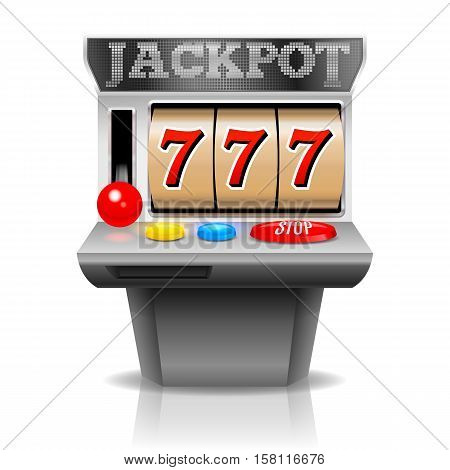 Slot machine with lucky seven. Vector illustration.
