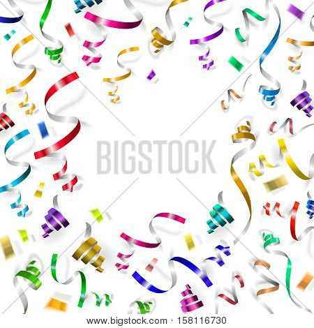 Colorful ribbons and confetti falls isolated on white background.