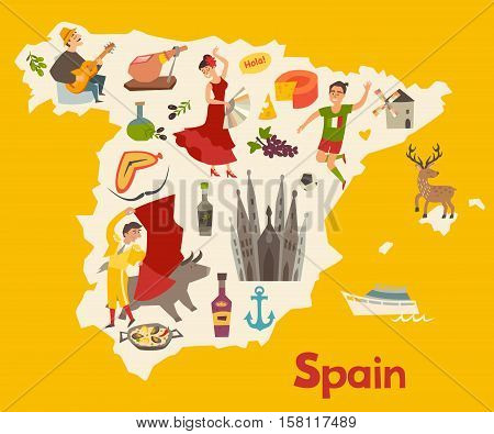 Spain map vector. Illustrated map for children. Cartoon atlas of Spain with flamenco guitar sangria paella bullfight and jamon. Travel map