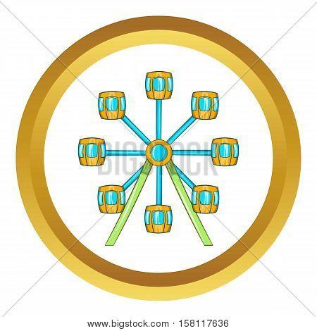 Ferris wheel vector icon in golden circle, cartoon style isolated on white background