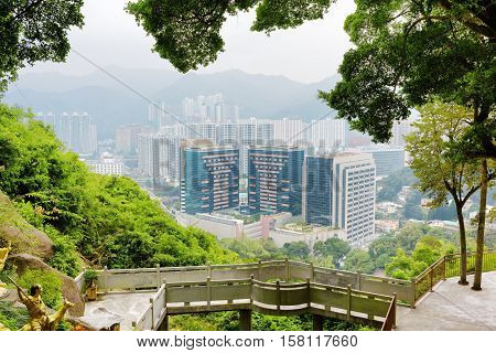 Beautiful View Of Hong Kong City And Small Bridge From The Ten Thousand Buddhas Monastery