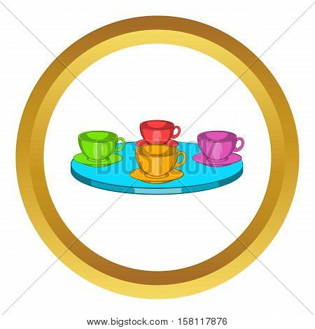 Attraction cups of tea spinning in a circle vector icon in golden circle, cartoon style isolated on white background