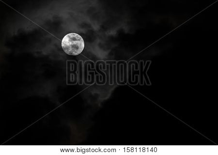 Moon And Clouds In The Sky.