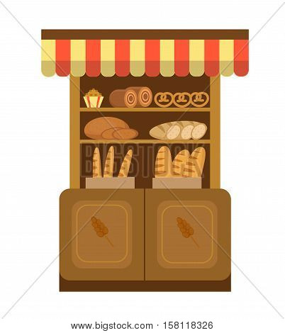 Bakery shelf. Baking Showcases icon. Bread on the shelf, flat style. Baking and pastries Showcases stores in the supermarket. Vector illustration