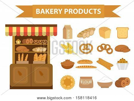 Bakery products icon set, flat style. Set of different bread and pastry isolated on white background. Flour products. Baking Showcases icon.  Vector illustration