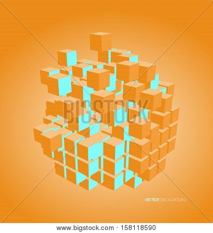 Vector illustration of 3d cubes. Vector. Template design