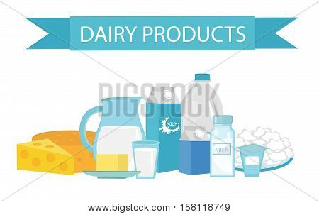Milk products still-life. Flat style. Dairy products isolated on white background. Milk and cheese. Farm products. Vector illustration