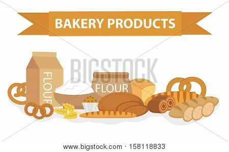 Bakery products still-life, flat style. Set of different bread banner. Vector illustration.