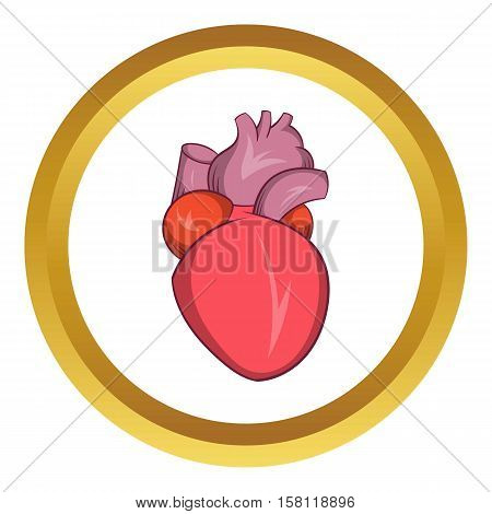Heart human vector icon in golden circle, cartoon style isolated on white background