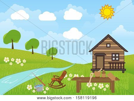 The view of house in the nature