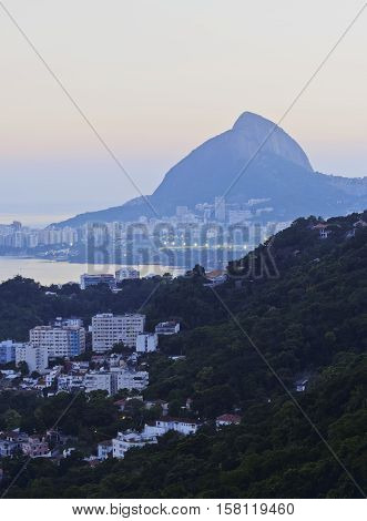 Brazil City of Rio de Janeiro Santa Marta Elevated view over Humaita and Lagoa towards the Rodrigo de Freitas Lagoon. poster
