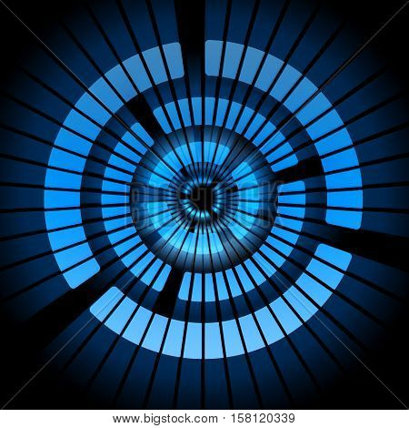 The blue geometric form in shape of circle