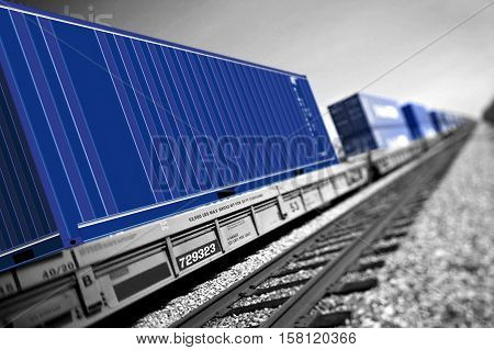 The picture of train in perspective view