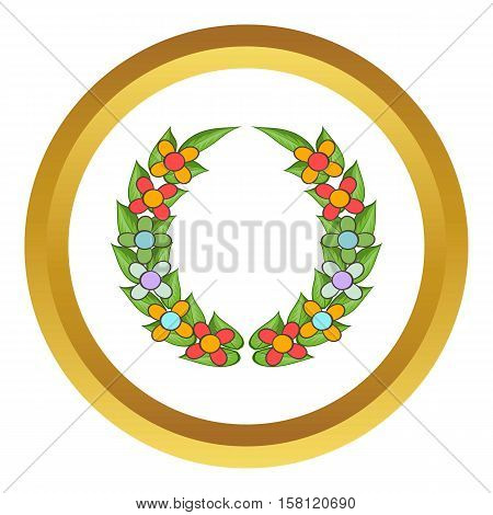 Funeral wreath vector icon in golden circle, cartoon style isolated on white background