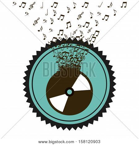 seal stamp with vinyl and musical notes over white background. music lifestyle design. vector illustration
