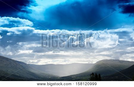Raining in Norway valley landscape background hd