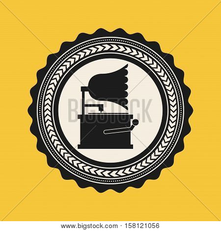 gramophone icon inside seal stamp over yellow background. music lifestyle design. vector illustration