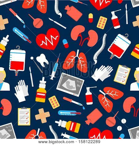 Medicine and healthcare seamless pattern with heart and syringe, thermometer, doctor and pill, blood, tooth, dental mirror and scalpel, lungs, medication, glove and checking form