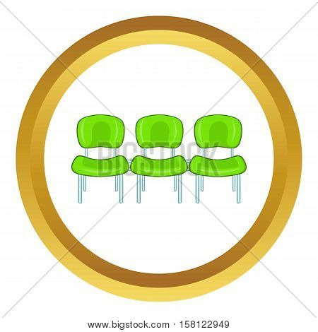 Green airport seats vector icon in golden circle, cartoon style isolated on white background