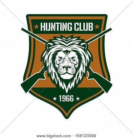 Hunting club heraldic symbol. Head of a lion with crossed sporting gun on medieval shield with star and date of foundation. Safari trip, african big-game hunting, sporting design