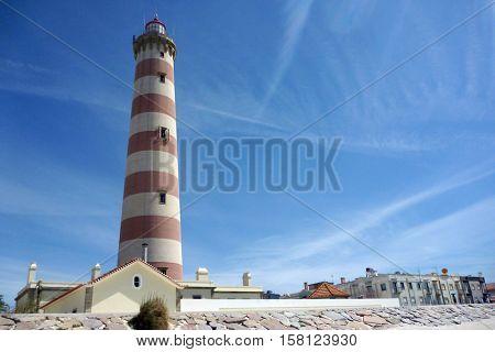 Lighthouse. Barra beach in Aveiro, Portugal. Aveiro