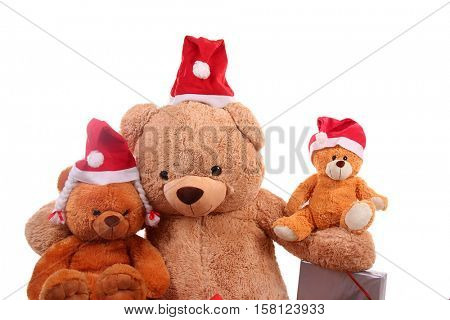 Teddy bear wearing a santa hat isolated on white background