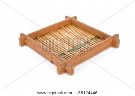 square bamboo plate for Japanese noodle on white background