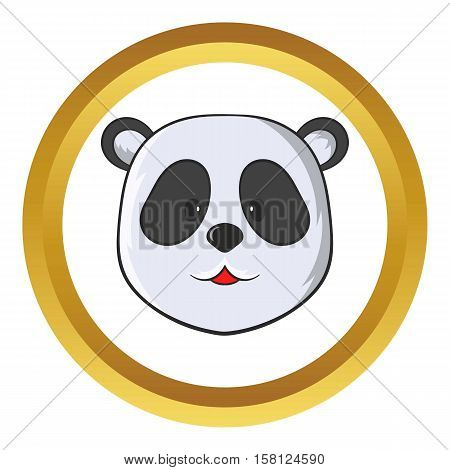 Head of panda bear vector icon in golden circle, cartoon style isolated on white background