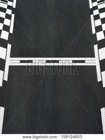 Start and Finish motor race line asphalt texture on  street circuit