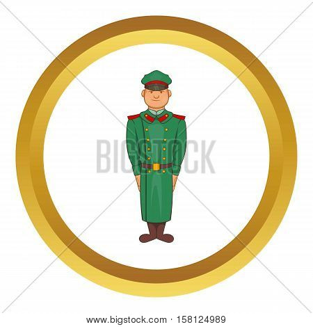 Military officer in greatcoat vector icon in golden circle, cartoon style isolated on white background