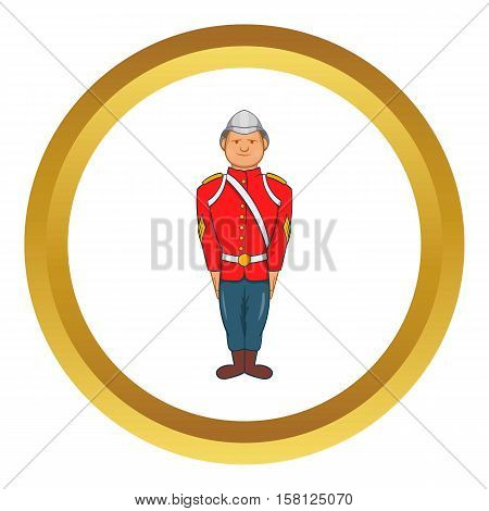 Man in a red jacket and metal helmet, army uniform 19th century vector icon in golden circle, cartoon style isolated on white background