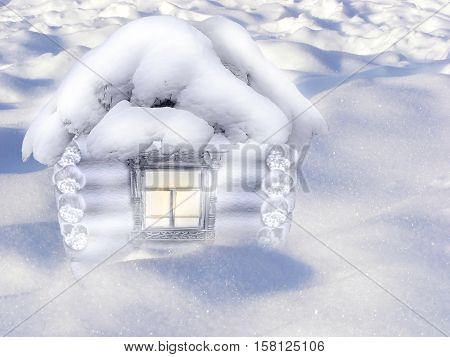 3D illustration with scene of the lodge in snow in winter