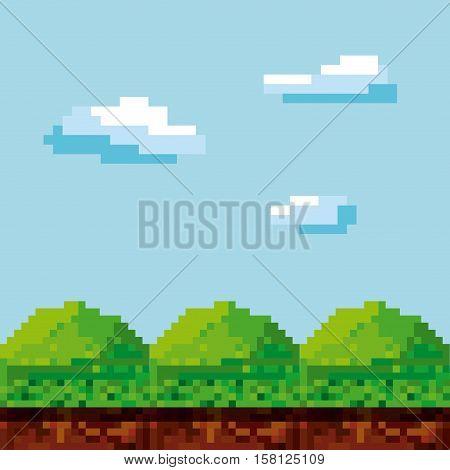 pixel landscape. Video game interface design. Colorful design. vector illustration