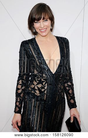Milla Jovovich at the 2016 American Music Awards held at the Microsoft Theater in Los Angeles, USA on November 20, 2016.