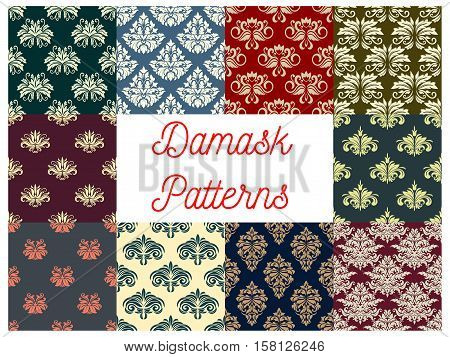 Damask flower seamless pattern. Set of damask floral ornament background with victorian flourishes, flower and leaf. Wallpaper and textile floral pattern design
