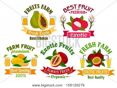 Exotic fruit sign and badge set. Tropical mango, papaya, passion fruit, lychee and tamarillo fruit and juice symbol with ribbon banner. Organic farm, food and juice packaging design