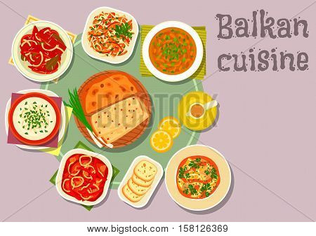 Balkan cuisine traditional tomato and pepper stew icon served with cheese soup with egg, fish stew with lemon, baked bean, potato pie, marinated pepper, tomato cabbage salad