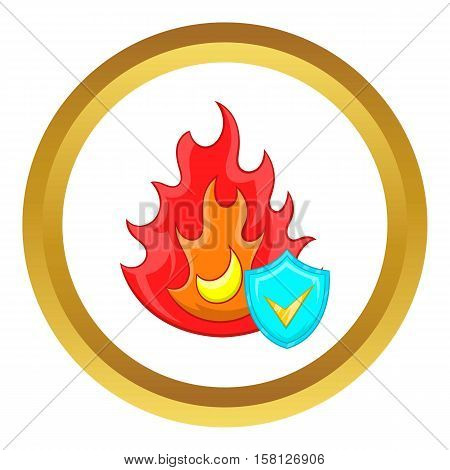 Fire and sky blue shield with tick vector icon in golden circle, cartoon style isolated on white background
