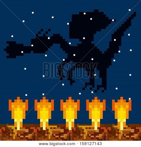silhouette pixel dragon throwing fire over  night landscape background. video game interface design. colorful design. vector illustration